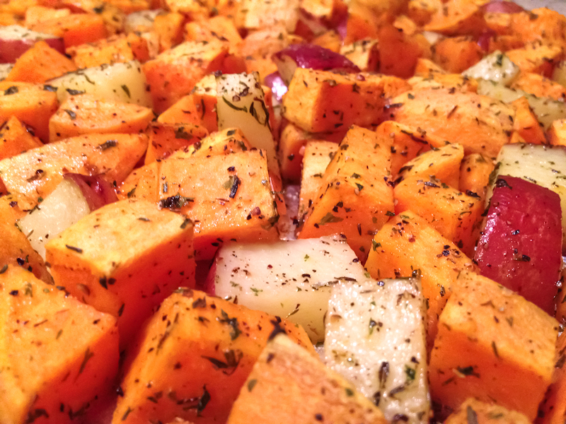 Herb Roasted Sweet & Red Potatoes